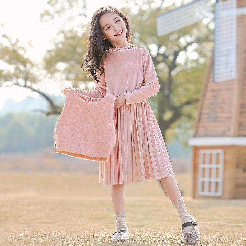 童装女童连衣裙秋冬装加绒2020新款儿童公主裙套装裙子小女孩秋装