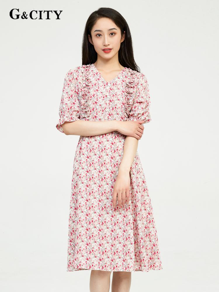 G & city short sleeve Floral Chiffon Dress summer 2021 new V-neck French retro style slim dress