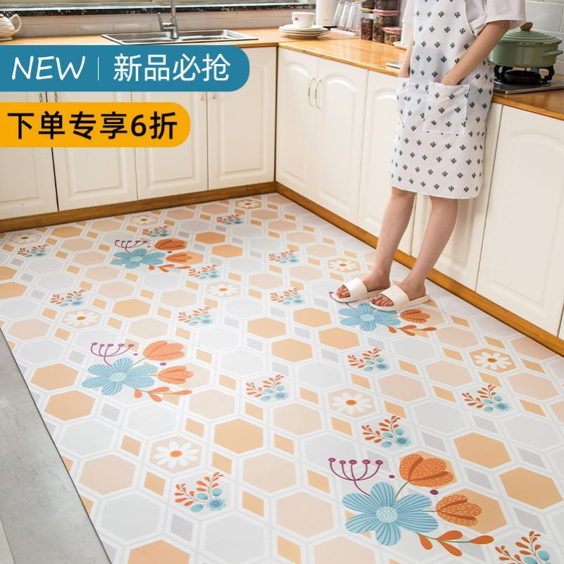 耐脏地毯定做可剪裁隔水铺地L面厨房皮革地垫防水防油免擦洗脚垫