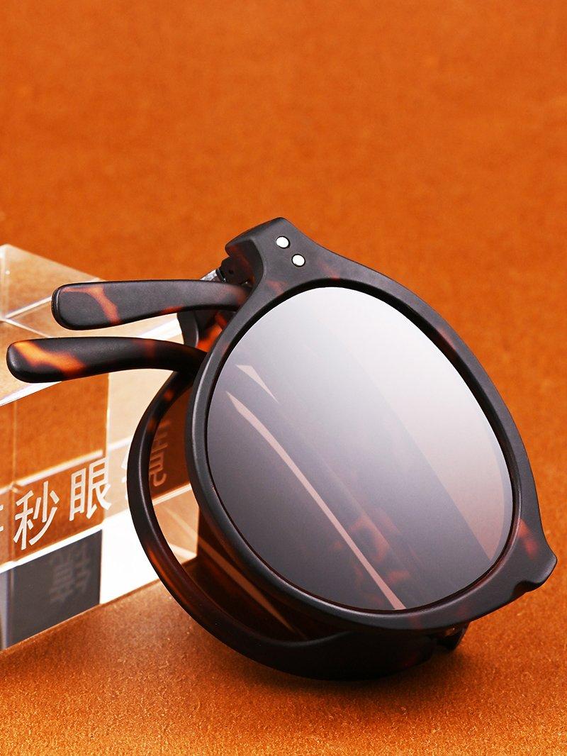 东海天然水晶石头太阳镜墨镜可折叠便携石头镜全框清凉养目正品