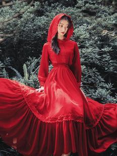 西藏旅遊的衣服連帽長袖連衣裙沙漠旅行網紅拍照紅色度假長裙飄逸