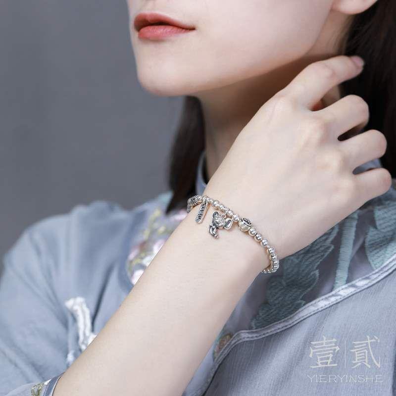 本命年女鼠年手链女纯银老鼠手链饰品纯银串珠手串生肖银珠子礼物