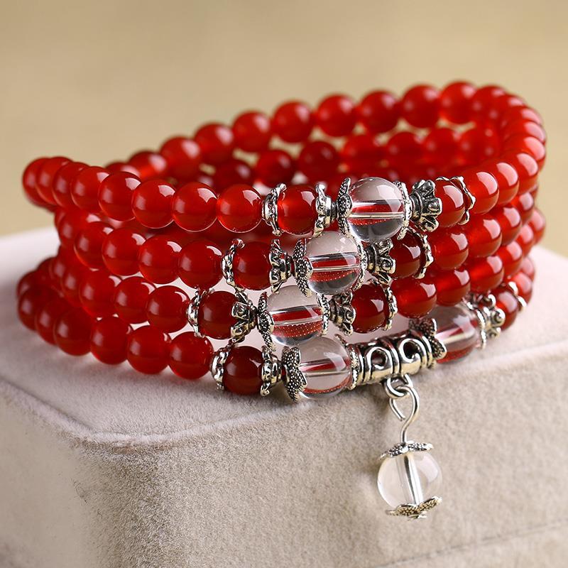 晶档新款黑红玛瑙多款多圈手串女士手链人造紫水晶石榴石饰品佛珠