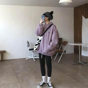 花田浅紫色学生2020橱窗秋冬季卫衣
