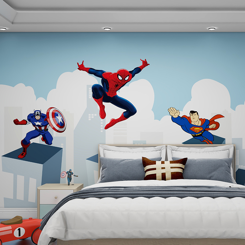 2020 new childrens room bedroom living room wall cloth modern simple Spider Man cartoon wall cloth seamless whole house