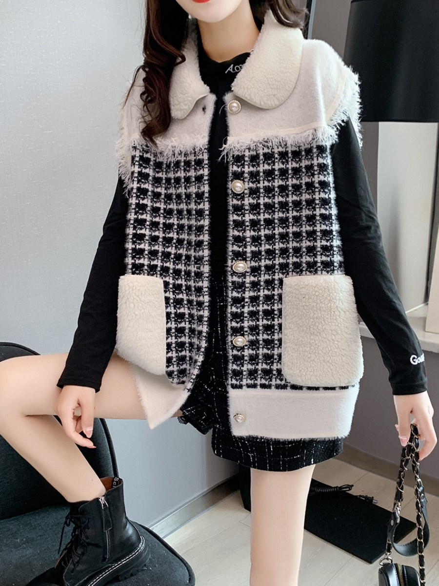 Lamb wool stitching small fragrance vest coat womens autumn and winter clothes versatile womens sleeveless waistcoat cardigan