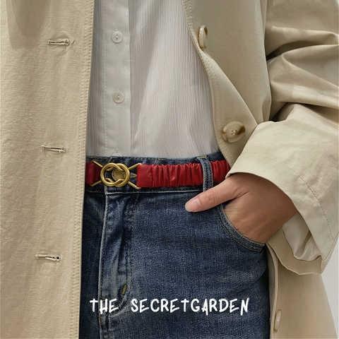 茉包全羊皮褶皱花边弹力伸缩金属对扣腰带皮带