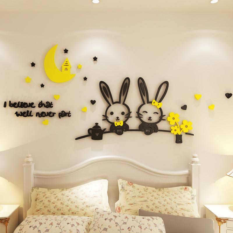 卡通3d立体墙贴创意卧室床头布置可爱亚克力墙贴纸儿童房墙面装饰