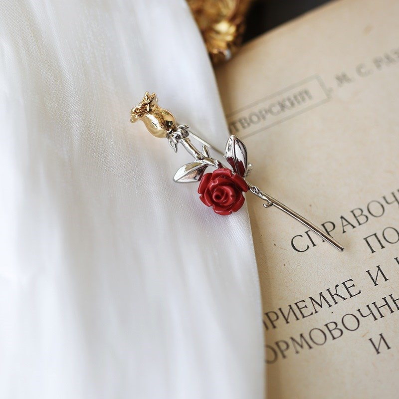 Fashionable suit high-end exquisite luxury creative f-body Rose Brooch Princes Rose anti light matching