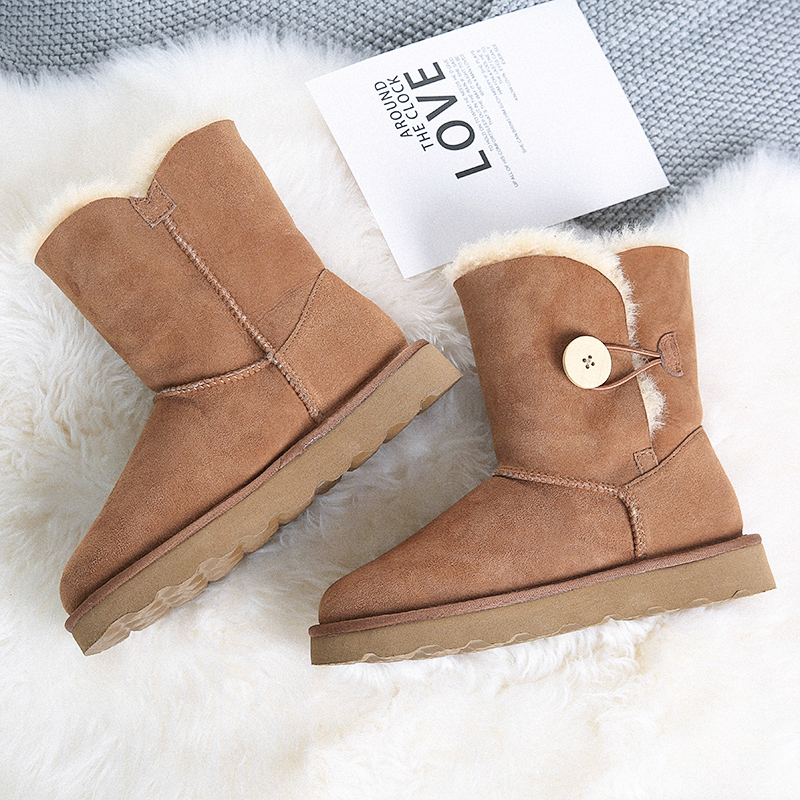 Winter days Australian wool snow boots high tube fur one waterproof warm cotton slippers moon shoes cotton boots
