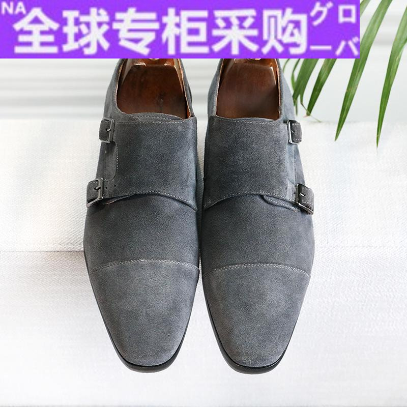 Japan LC British business dress shoes mens buckle anti suede suede leather monk mengke mens shoes fashion