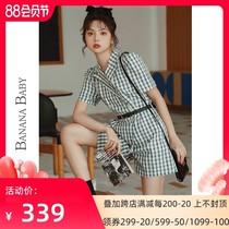 BANANABABY2021夏季时尚日系短袖复古格子连衣裙裤女高腰连体裤