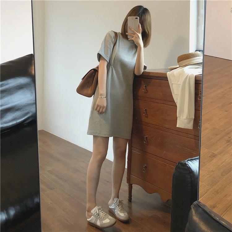 Muzi 21 summer / comfortable vacation homemade knotted OP skirt cotton round neck short sleeve dress short skirt T-shirt skirt