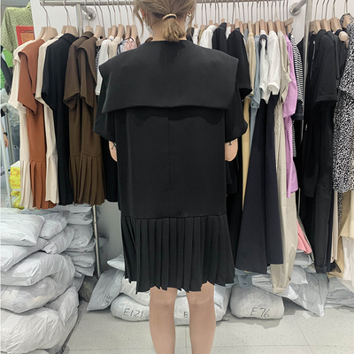 2020 new summer button pleated skirt 2 French retro large lapel wide J loose temperament black suit dress