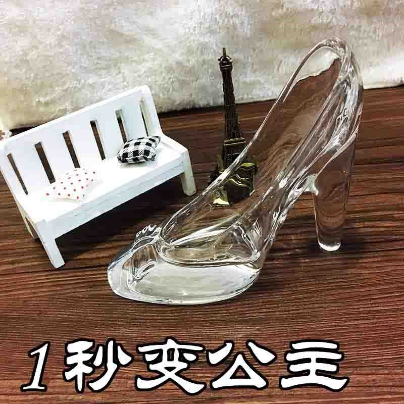 Cinderella crystal glass high-heeled shoes, home accessories, gifts for Valentines day birthday.