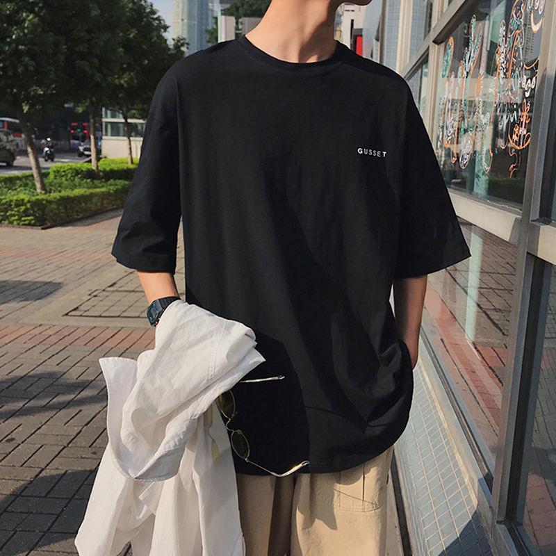 纯棉夏季港风ins短袖t恤男学生韩版宽松潮流短袖男简约半袖男