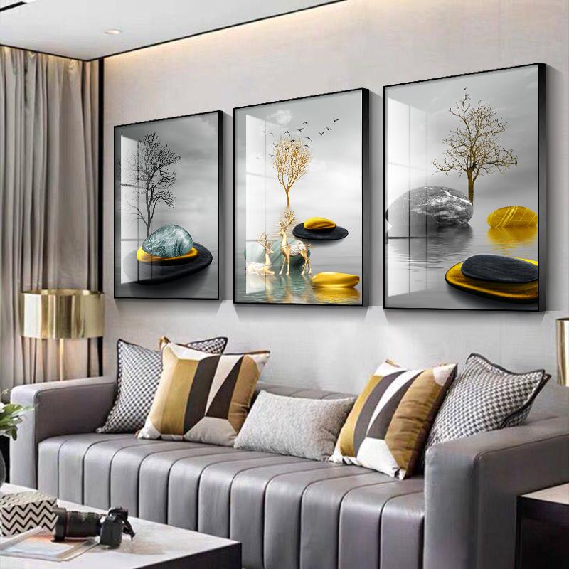 1客厅石来运转沙发黑白客厅装饰画