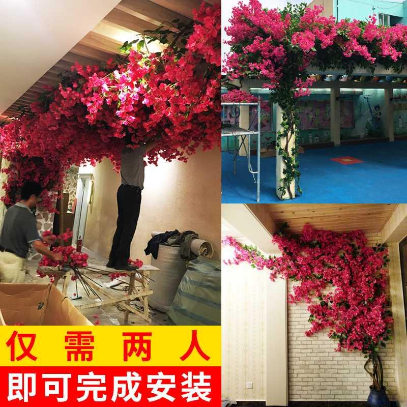 Simulation triangle plum, jiuchongge artificial flower, dried flower, climbing vine, ornamental tree, vine, plant, wall, door, landscaping, wedding flower