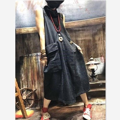 Spring 2019 literary suspender skirt womens conjoined skirt suspender large size slim large pocket denim casual loose skirt