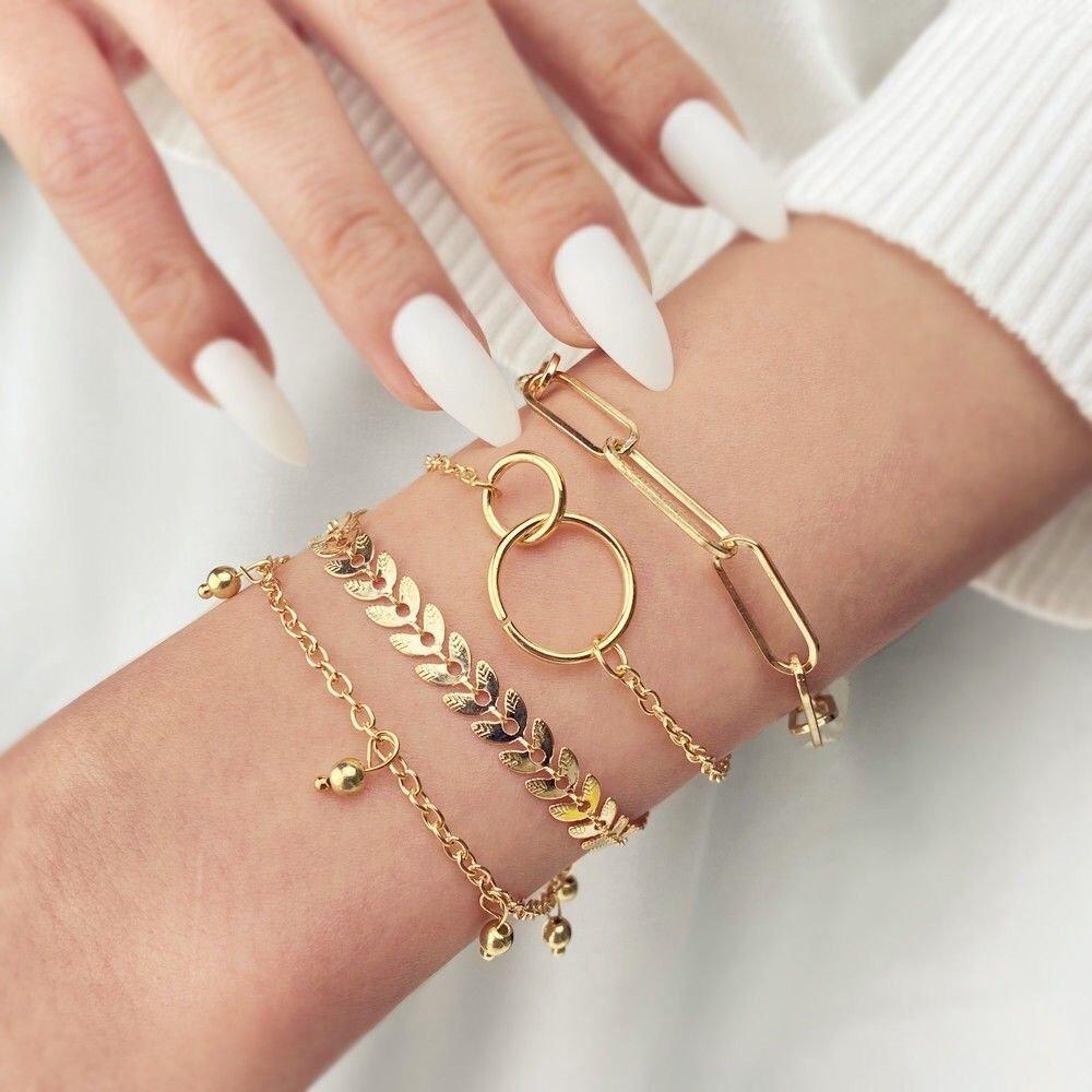 Ins European and American style geometric s simple design womens bracelet trend versatile minority Bracelet high cold disco four piece set