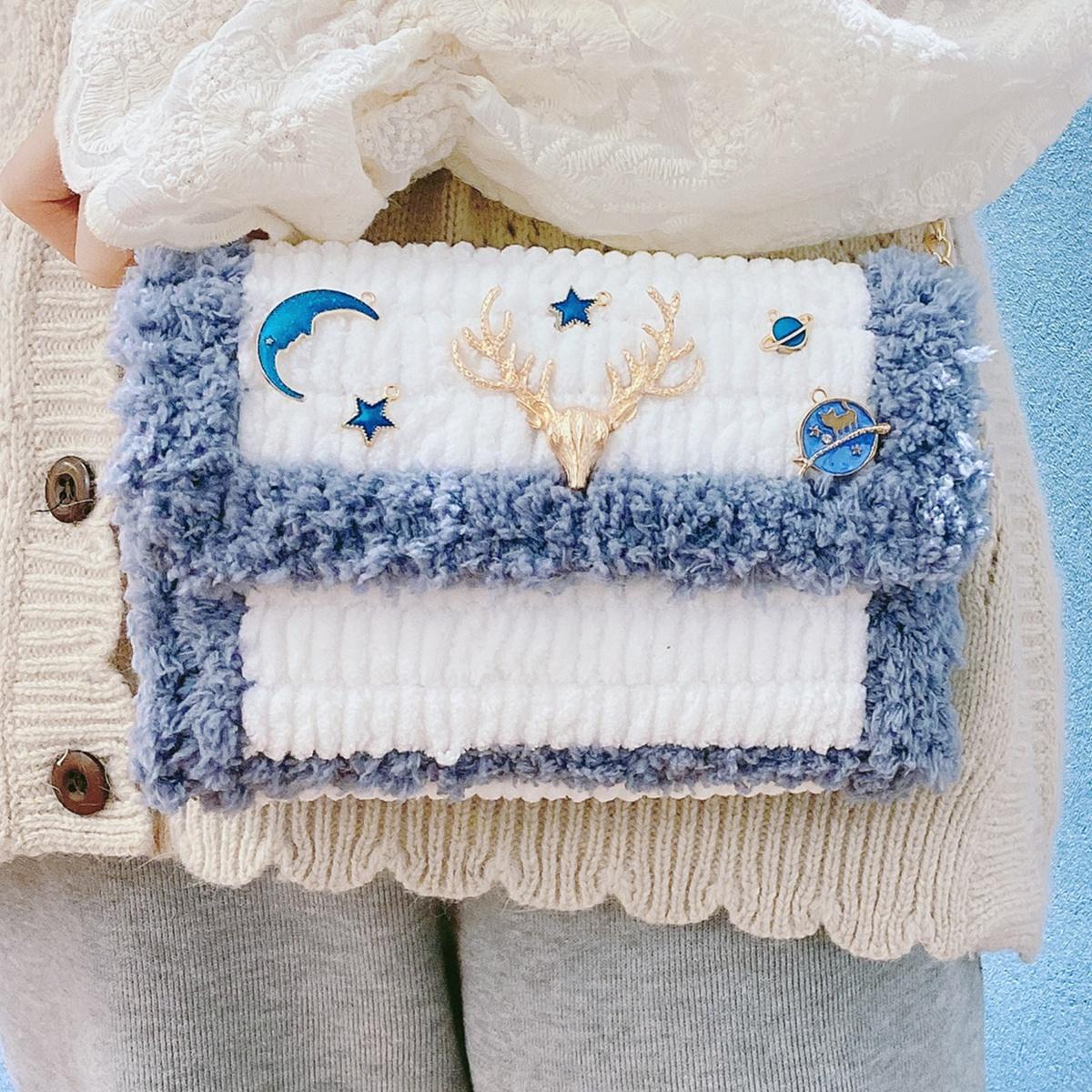 手編みバッグdiy素材バッグ手作り手編みは彼女にプレゼントします。
