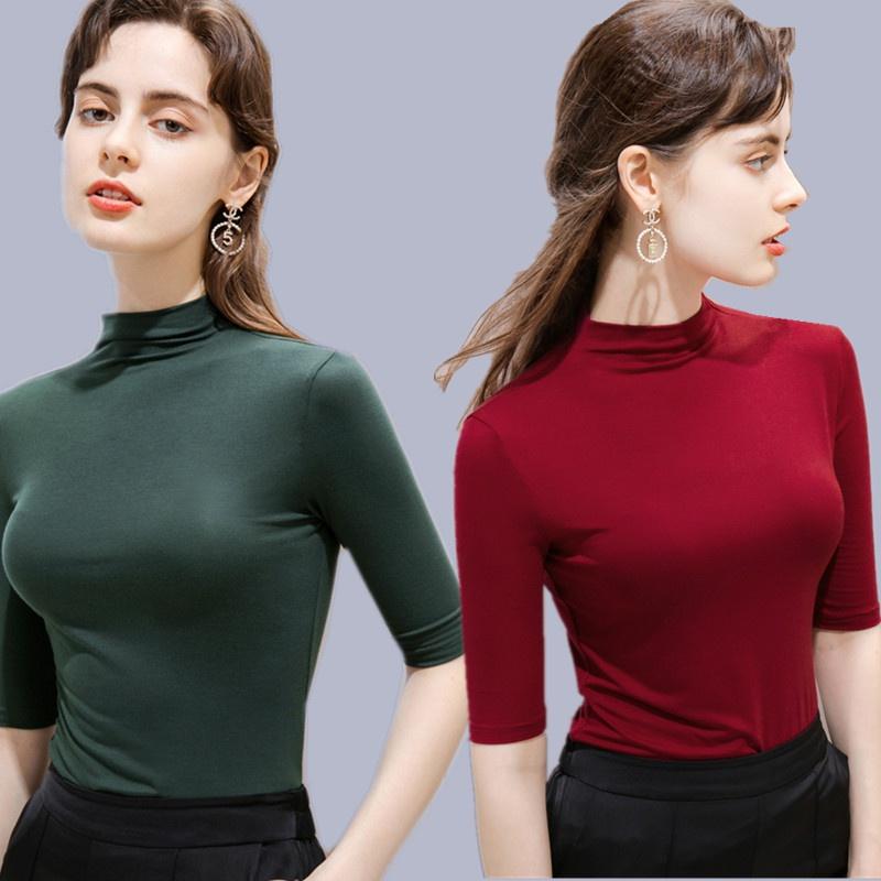Middle sleeve Yoga top half high collar large size elastic slim bottom shirt womens dance training suit fitness T-shirt