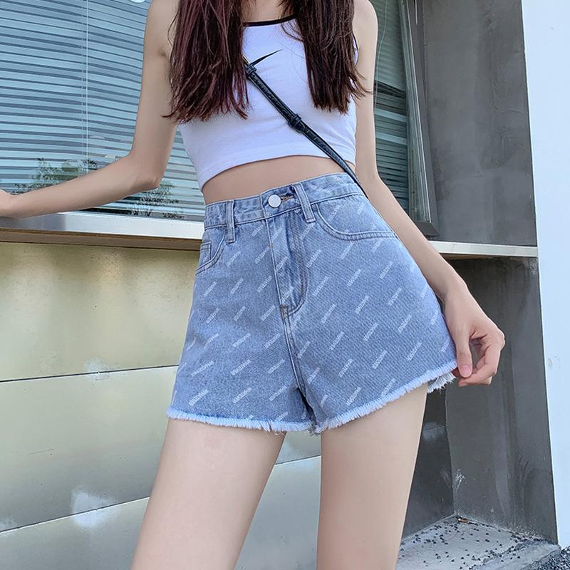 Yin wenshinas high waist slim denim shorts show slim and springless in summer, wide leg pants show high A-line pants
