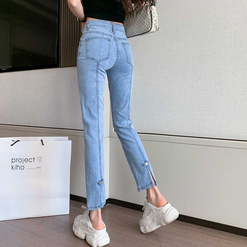 Yin wenshinas flared jeans womens spring and summer loose and thin stretch drop off straight pants