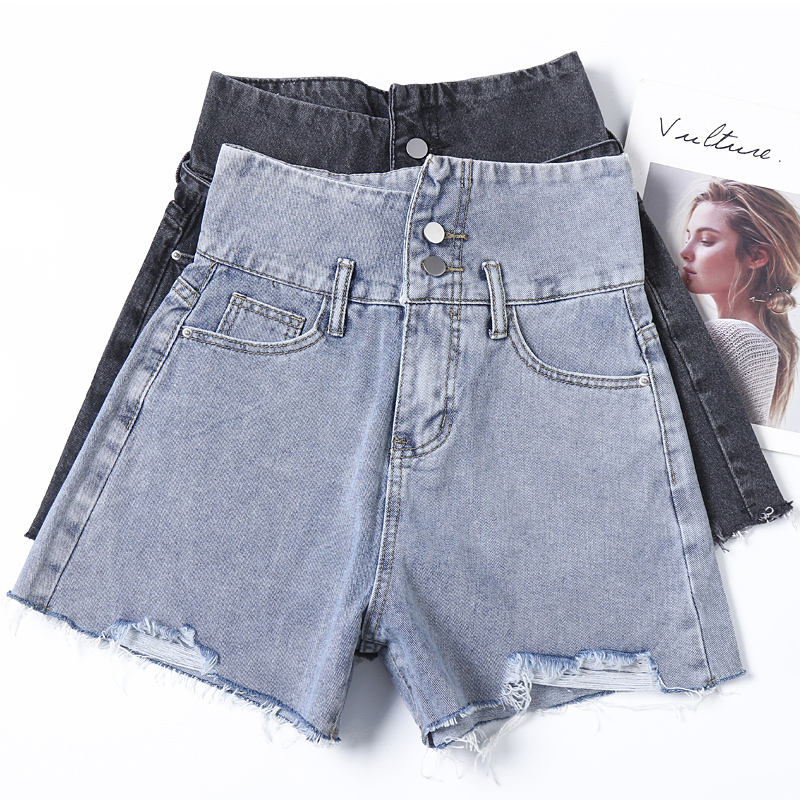 Yin wenshinas high waist tied jeans womens spring and summer 2021 slim and slim with high burr hole A-line shorts