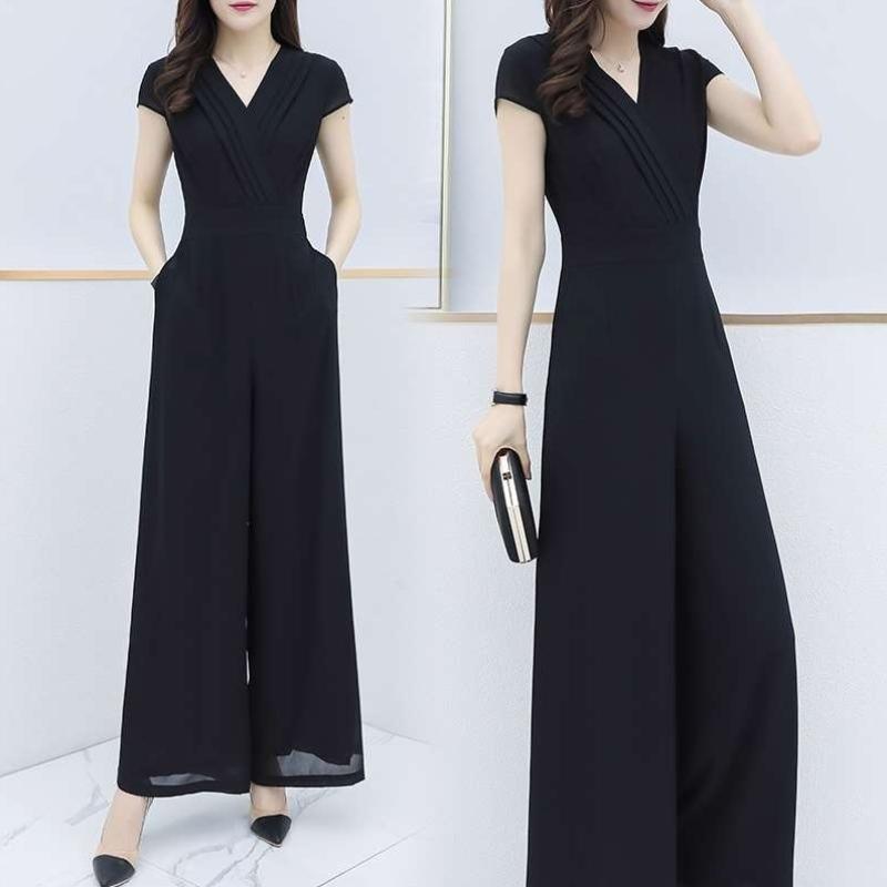 I Chiffon Jumpsuit womens summer 202p1 new Jumpsuit Slim Fit Black High Waist Jumpsuit wide leg pants cover