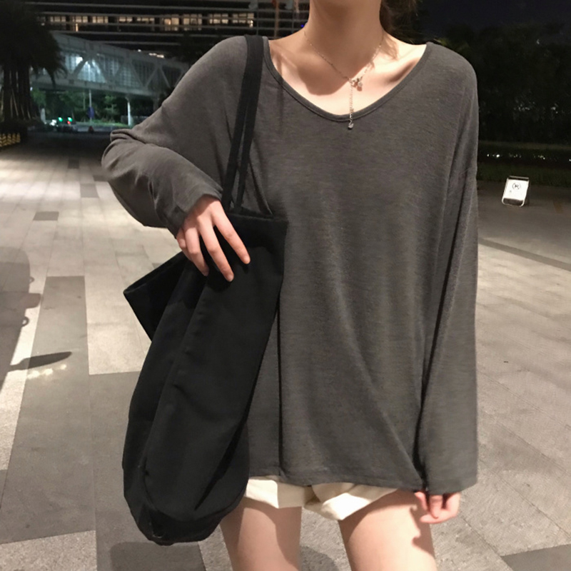 Spring and autumn new solid color T-shirt womens long sleeve Korean version loose BF Slouchy V collar