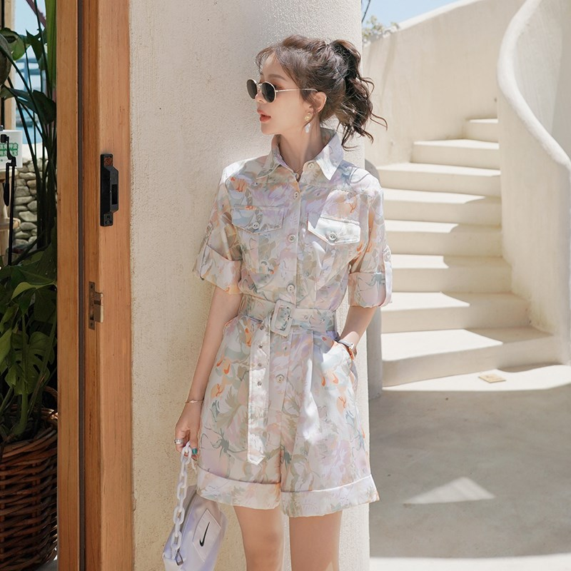 Womens summer small womens 2021 new summer tooling one-piece suit