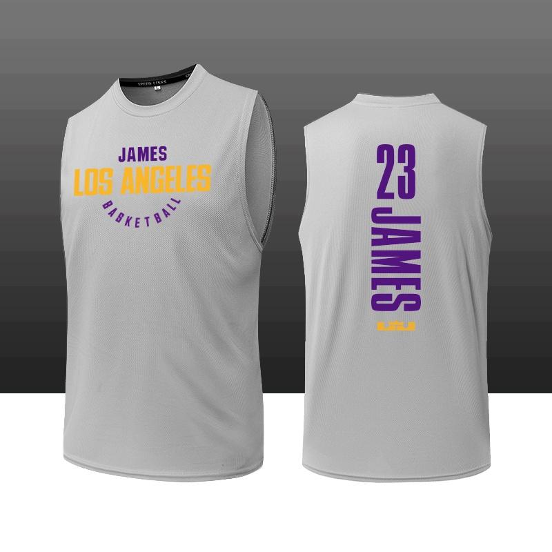 篮球训练服背心黑色白色宽松透气詹姆斯23号男子运动砍袖T恤可。