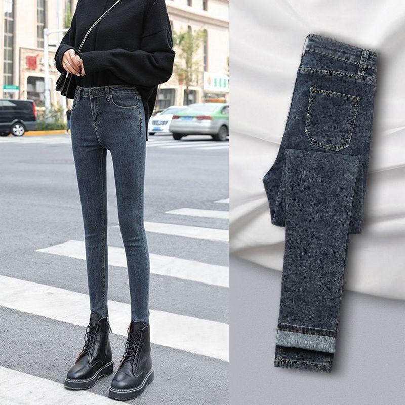 弹力牛仔裤女2021年新款高腰小个子显高显瘦百搭紧身小脚铅笔裤子