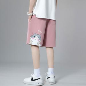 夏季粉色直筒休闲短裤女生潮运动裤