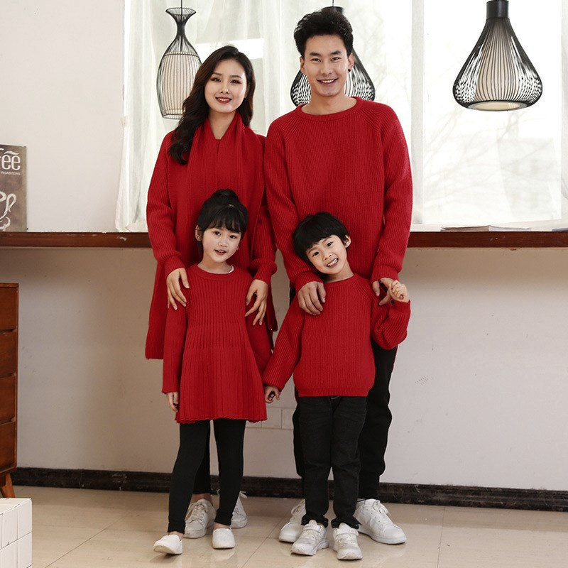 Red Chinese New Years clothes boys and girls whole family parent-child clothes father son mother daughter family three or four dress sweater