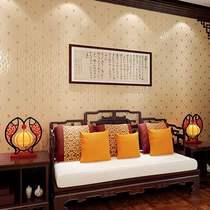 酒店餐馆客厅卧室壁纸立体无纺布墙纸4D新款中国风中式复古格子