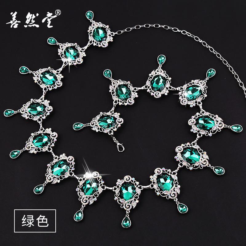 新款肚皮舞腰链镂空腰链复古美人泪宝石满钻镶嵌加重钻链。