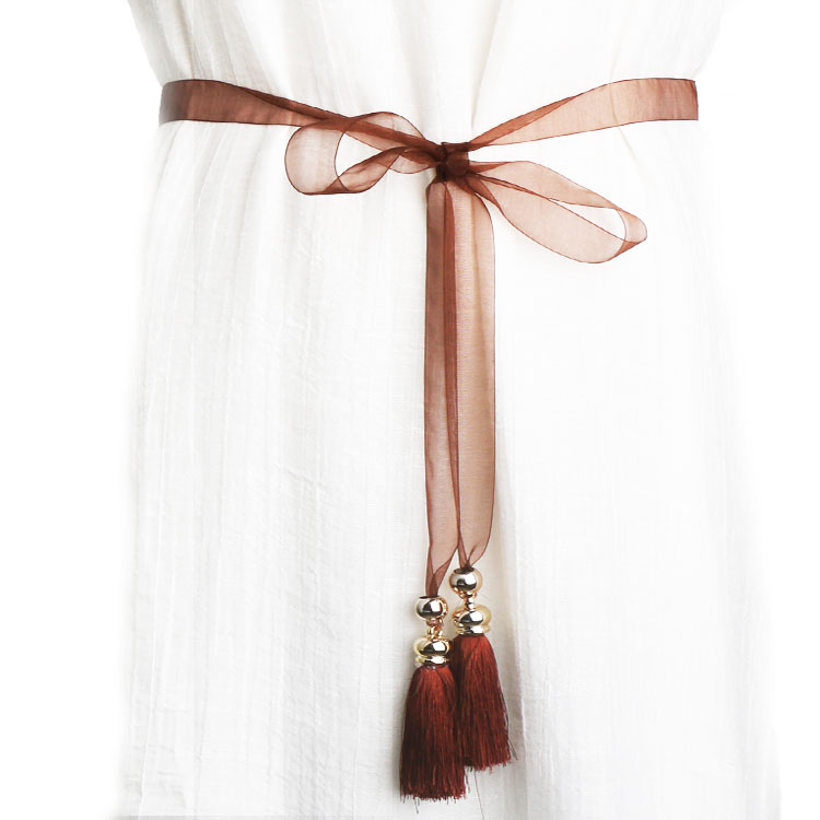 . Simple and versatile womens fine Korean decorative dress with long tassel waist chain and skirt
