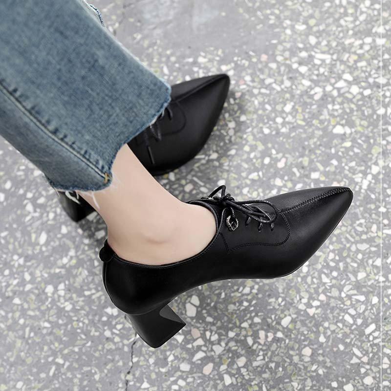 单鞋高2021新作软女深女尖鞋工面鞋口小跟皮款头春鞋年跟i秋粗。