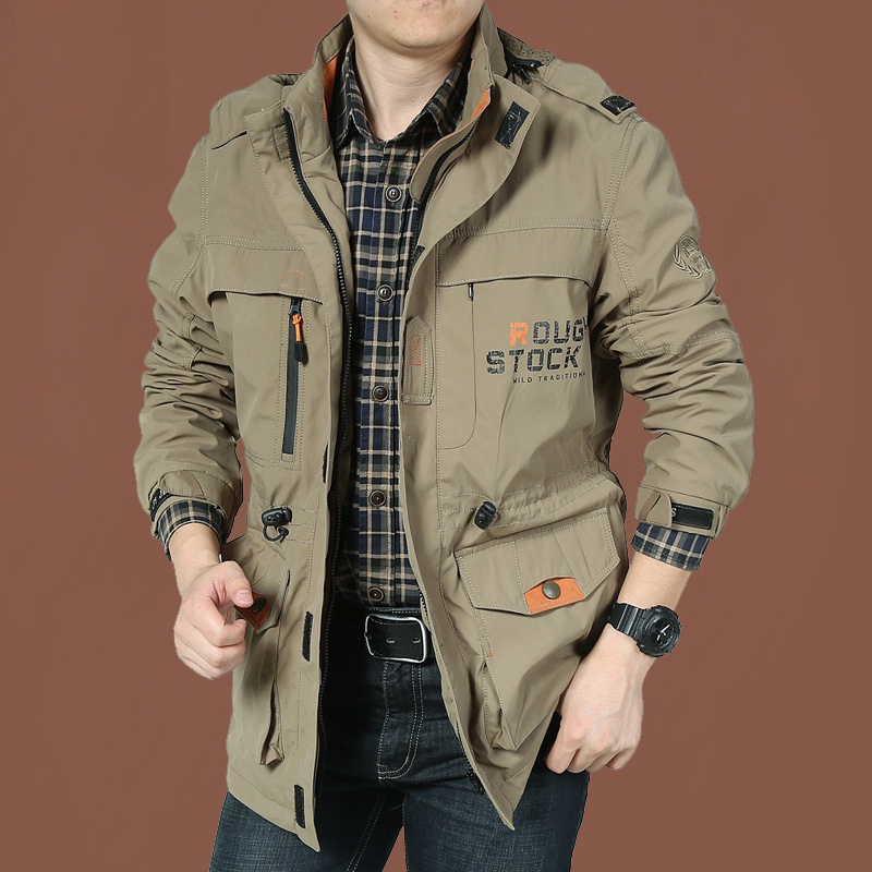 。 Mens V coat quick size bag spring and autumn leisure outdoor medium long charge breathable sports dry loose Jacket Large