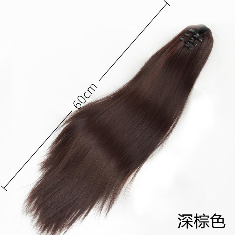 Ponytail natural braid strap I clip long wig hair red fake ponytail female straight hair grasp short long hair net
