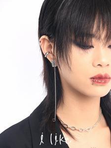 ilike/2021年新款耳钉耳骨夹一体式女夏小众酷耳环不对称链条耳饰