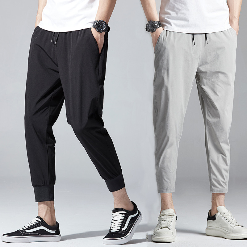 Cropped pants mens summer ice silk breathable quick drying pants Korean slim sports Leggings trendy mens solid color casual pants