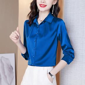杭州重磅真丝衬衫女士长袖新款2021年气质高端桑蚕丝缎面大牌上衣