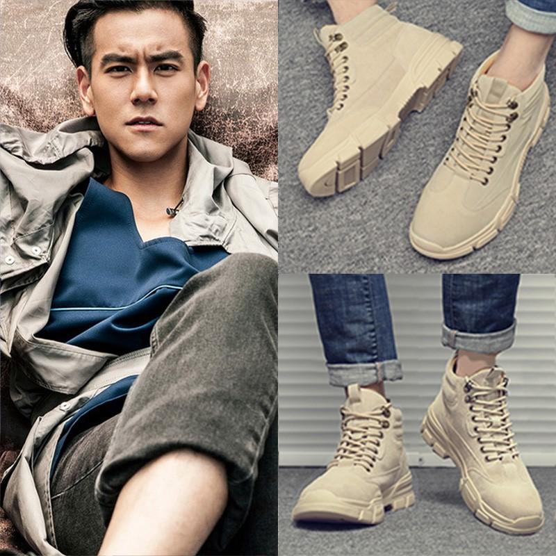 马丁靴男2021年春夏季透气新款百搭低帮高帮战术沙漠军工装潮鞋子