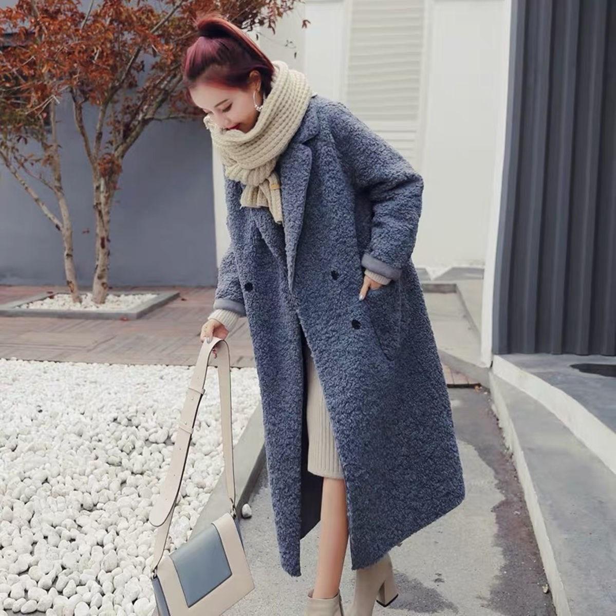 大衣女2020秋冬新款韩版宽松长款过膝羊羔绒加厚外套包邮