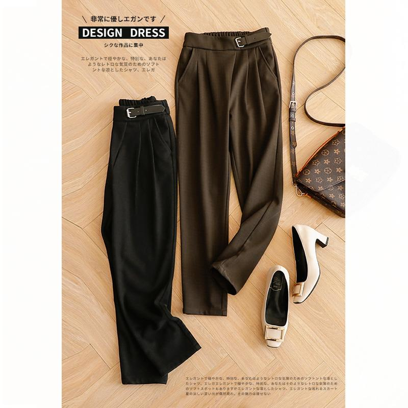Who is the face of a lamp? Solid asymmetric waist loop elastic waist casual pants