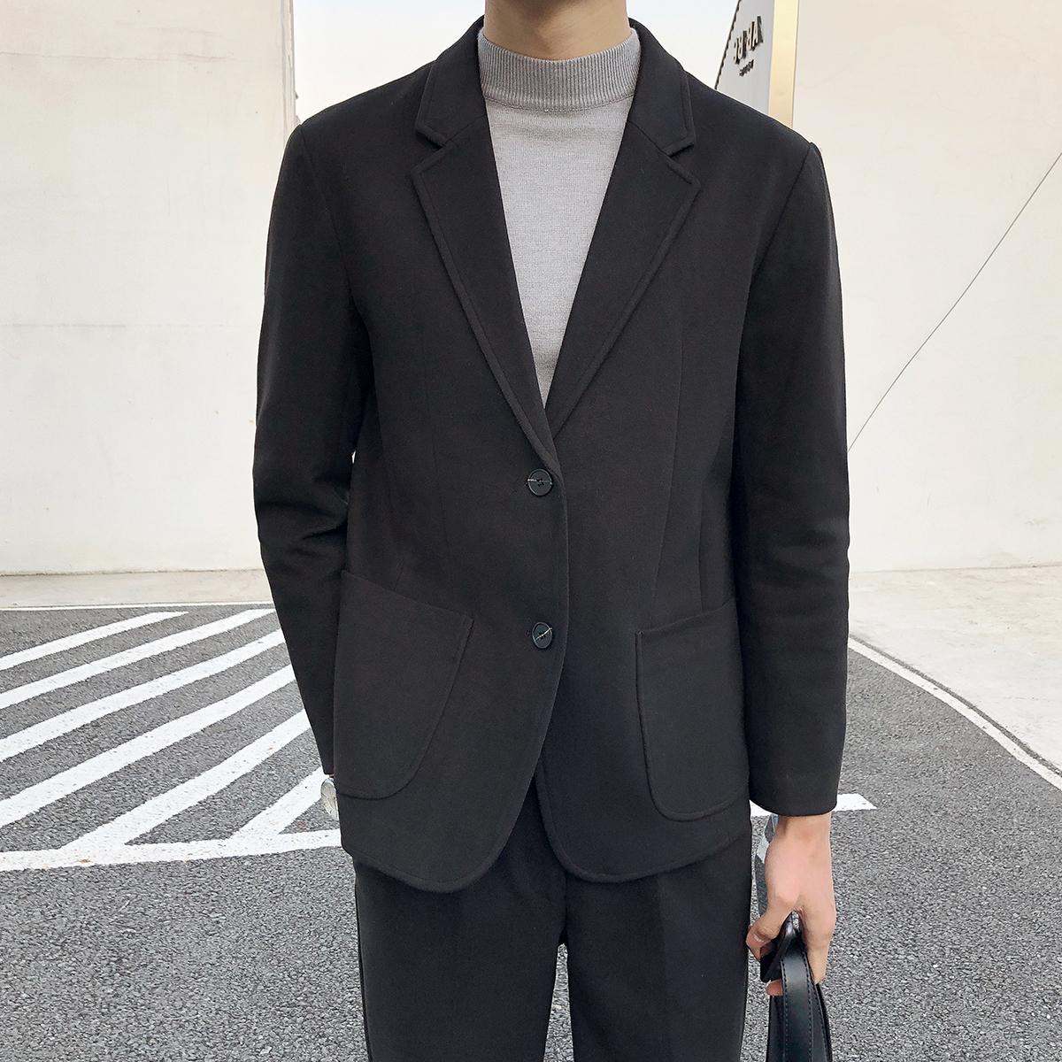 日本BK秋冬2020新款毛呢小西装时尚修身潮流痞帅气休闲单排扣西服