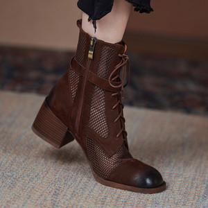 薄款马丁靴女透气真皮网纱凉靴镂空粗跟凉鞋擦色洞洞网靴复古短靴